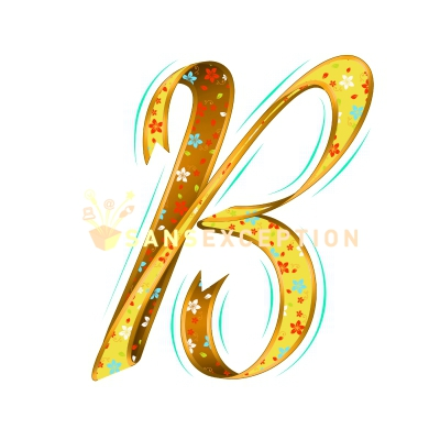 Initial Letter B Effect Ribbon Golden Flowering Blossoming 2D Very Realistic Royalty Free Images