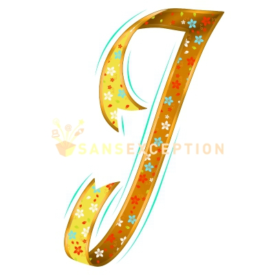 Initial Letter J Effect Ribbon Golden Flowering Blossoming 2D Very Realistic Royalty Free Images