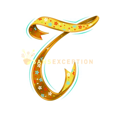 Initial Letter T Effect Ribbon Golden Flowering Blossoming 2D Very Realistic Royalty Free Images