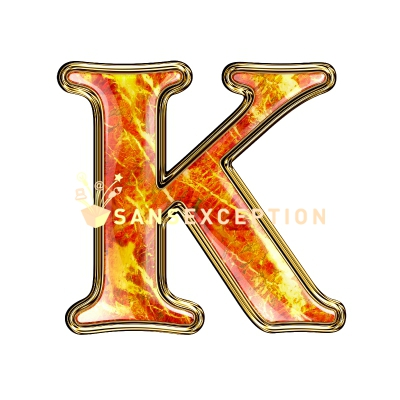 initial letter K fire on stone redlight 2D very realistic royalty free    Letter K Fire