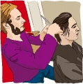 the hairdresser cuts the hair of client