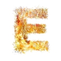 initial letter E flames on flames ultra realistic
