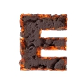 letter initial E ceramic burning ultra realistic PNG transparent