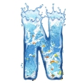 letter initial N splash water in blue with fishes ultra realistic PNG transparent