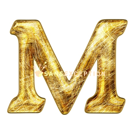 Initial Letter M Scratch On Golden Metal Effect 2D Very Realistic Royalty Free Images