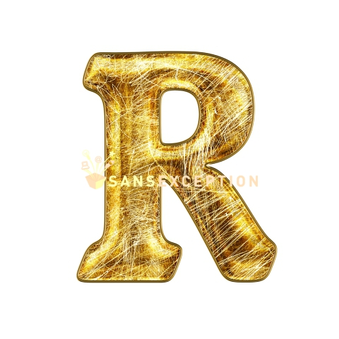 Initial Letter R Scratch On Golden Metal Effect 2D Very Realistic Royalty Free Images